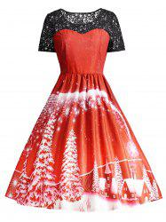 Print Lace Trim Vintage Party Dress -