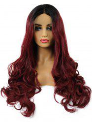 Long Center Parting Ombre Wavy Lace Front Synthetic Wig -