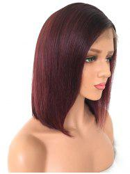 Short Side Parting Colormix Straight Bob Lace Front Human Hair Wig -
