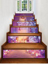 Christmas Tree Fireplace Print Decorative Stair Stickers -
