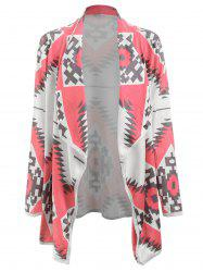 Stylish Turn-Down Collar Long Sleeve Geometric Print Women's Cardigan -