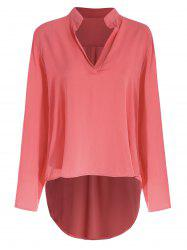 Concise Solid Color V-Neck 3/4 Sleeve Chiffon Blouse For Women -