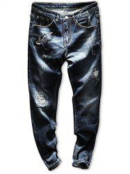 Ripped Zip Fly Embroidery Crane Jeans -