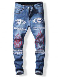 Zip Fly Letter and Eyes Print Jeans -