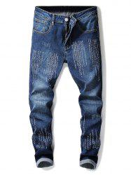 Embroidery Letter Zip Fly Jeans -