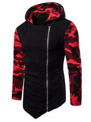 Asymmetric Zip Up Camo Panel Hoodie -