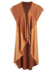 Asymmetrical Collarless Longline Vest -