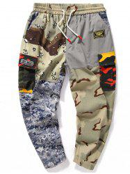 Camouflage Splicing Adjustable Bottom Jogger Pants -