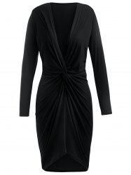 Knotted Front Full Sleeve Asymmetrical Dress -