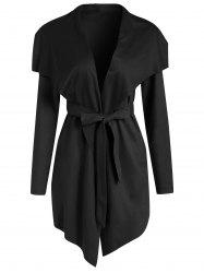 Faux Suede Asymmetrical Coat with Belt -