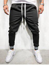 Solid Pockets Striped Elastic Cuffs Jogger Pants -