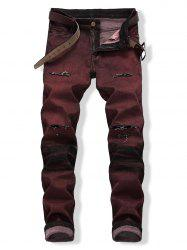 Ripped Colored Wash Zip Fly Jeans -