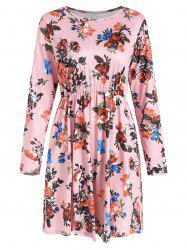Floral Print Full Sleeve High Waist Dress -