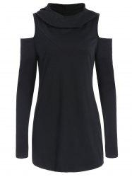 Heaped Collar Cold Shoulder Hoodie -