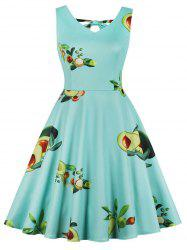 Avocado Print Plus Size Back Cut Out A Line Dress -