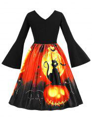 Plus Size Pumpkin Lantern and Cat Pattern A Line Dress -
