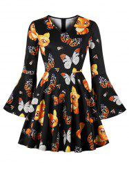 Butterfly Print Plus Size Bell Sleeve A Line Dress -