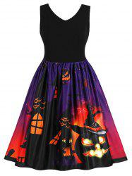 Halloween Plus Size Pumpkin Pattern A Line Dress -