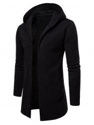 Open Front Solid Color Longline Hoodie -