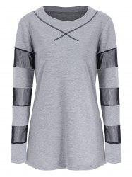 Full Sleeve See through Mesh Insert T-shirt -