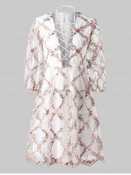 Tiny Floral Embroidery Plunging Neckline Mesh Dress -