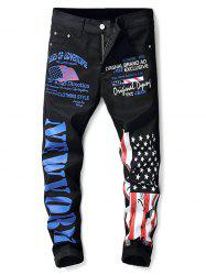 Zip Fly American Flag and Letter Print Jeans -