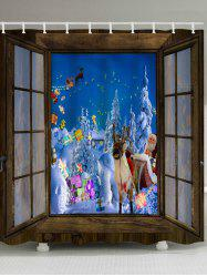 Window Christmas Night Print Waterproof Bathroom Shower Curtain -