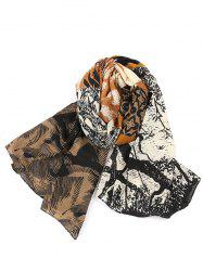 Vintage Color Spliced Ethnic Style Long Scarf -