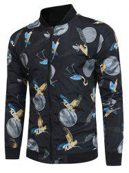 Crane Print Zip Up Baseball Jacket -