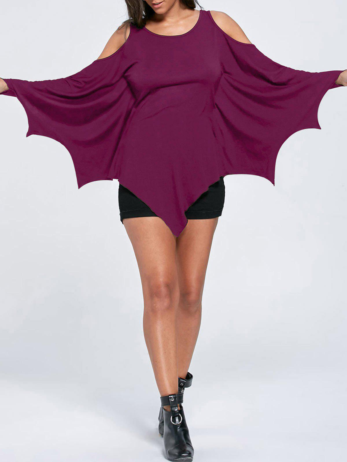 Trendy Halloween Cold Shoulder Batwing T-shirt