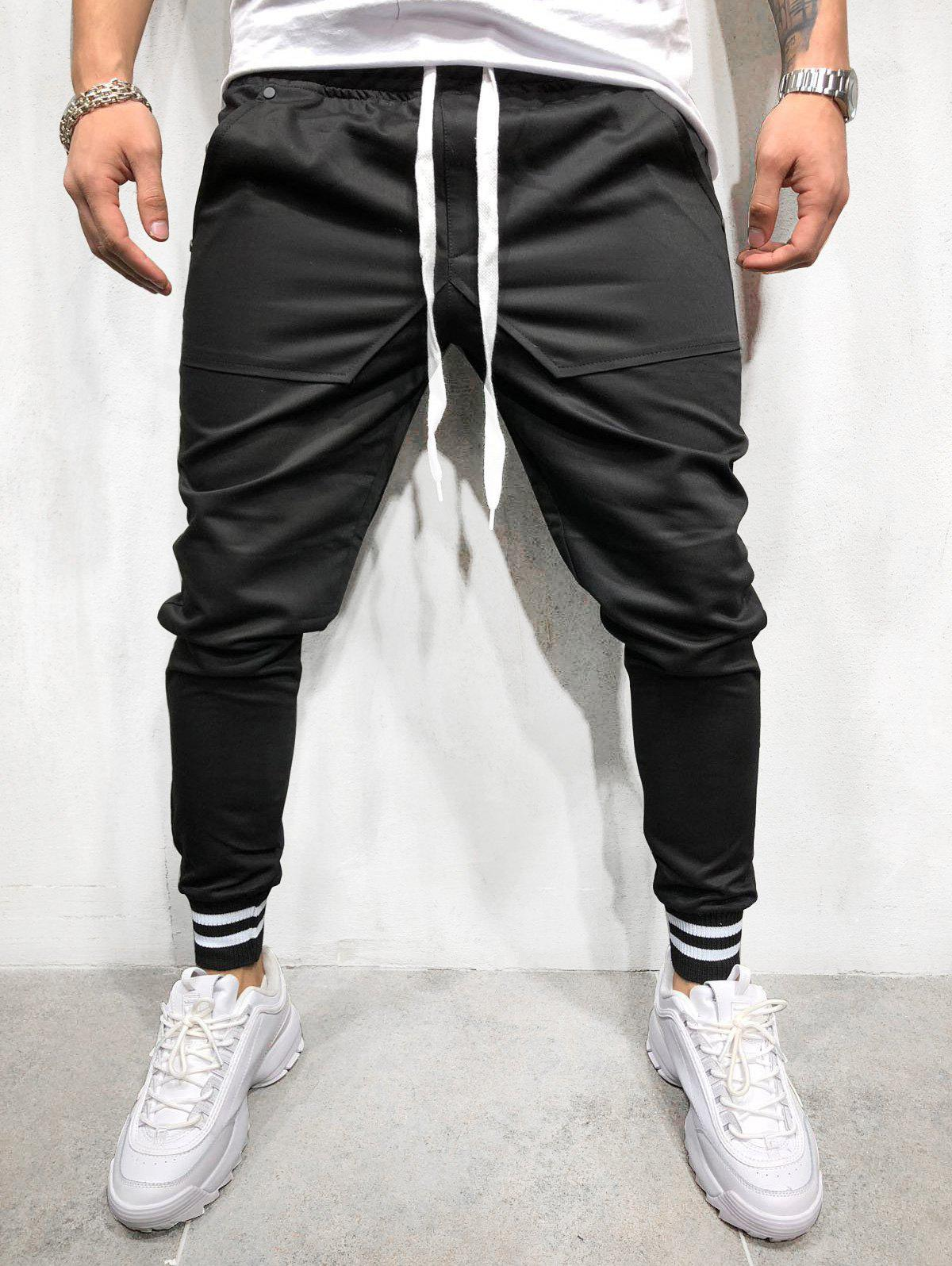 New Solid Pockets Striped Elastic Cuffs Jogger Pants