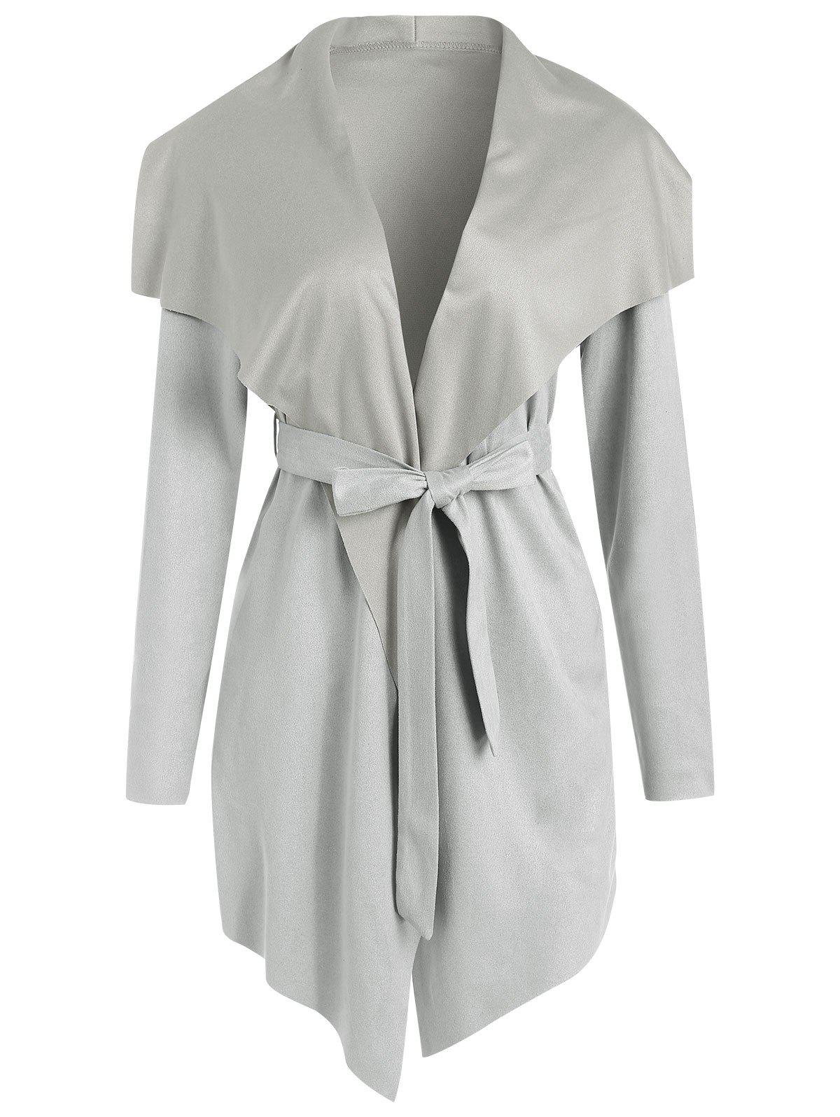 Trendy Faux Suede Asymmetrical Coat with Belt
