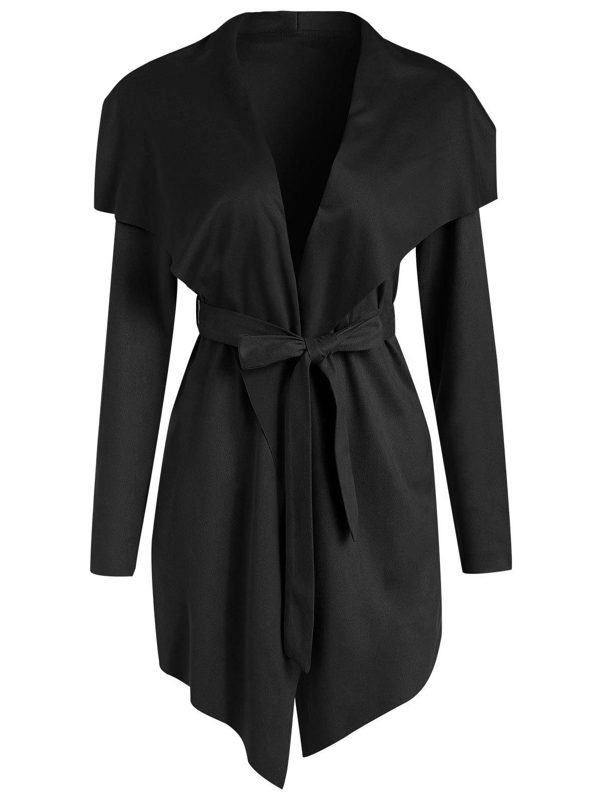 Buy Faux Suede Asymmetrical Coat with Belt