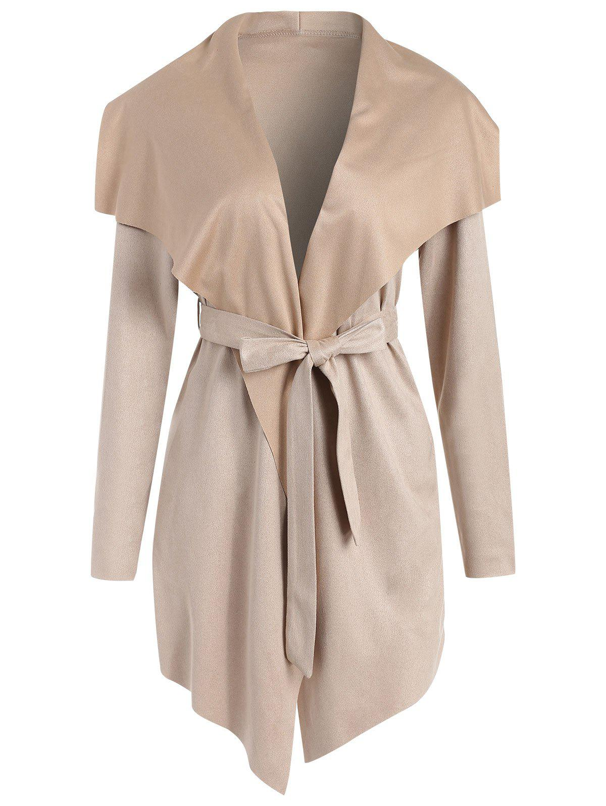 Sale Faux Suede Asymmetrical Coat with Belt