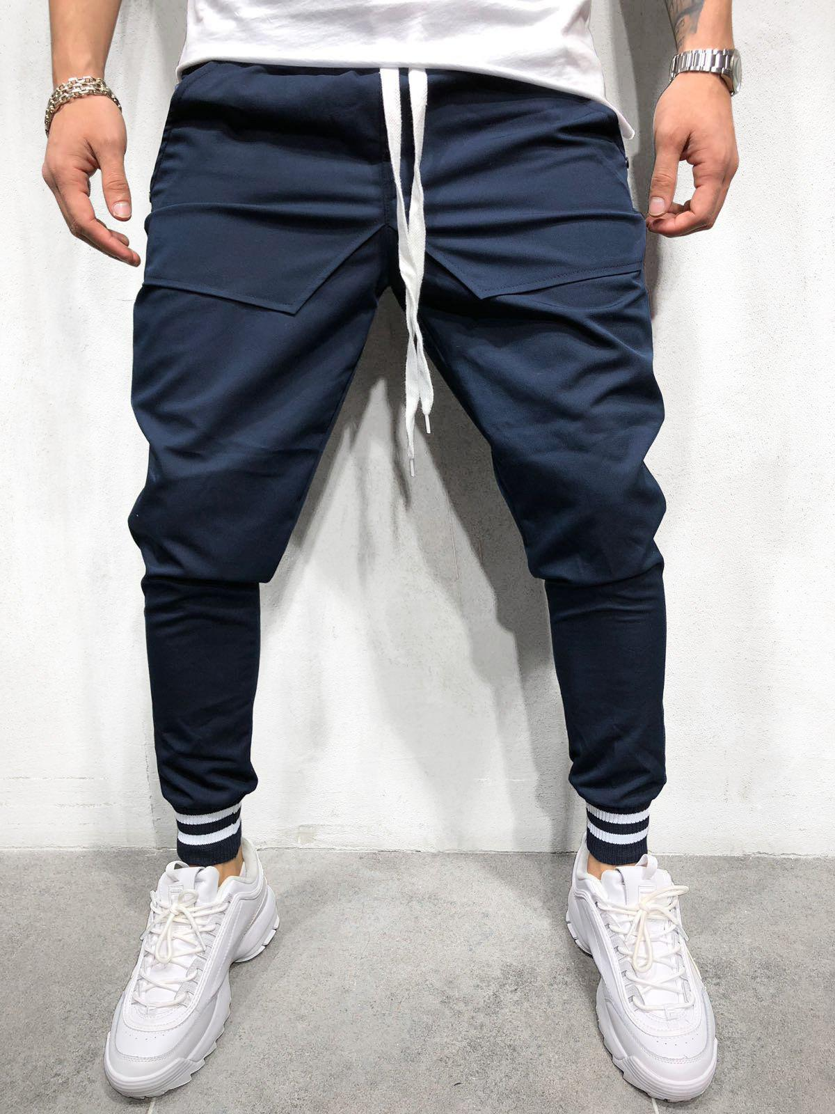 Hot Solid Pockets Striped Elastic Cuffs Jogger Pants
