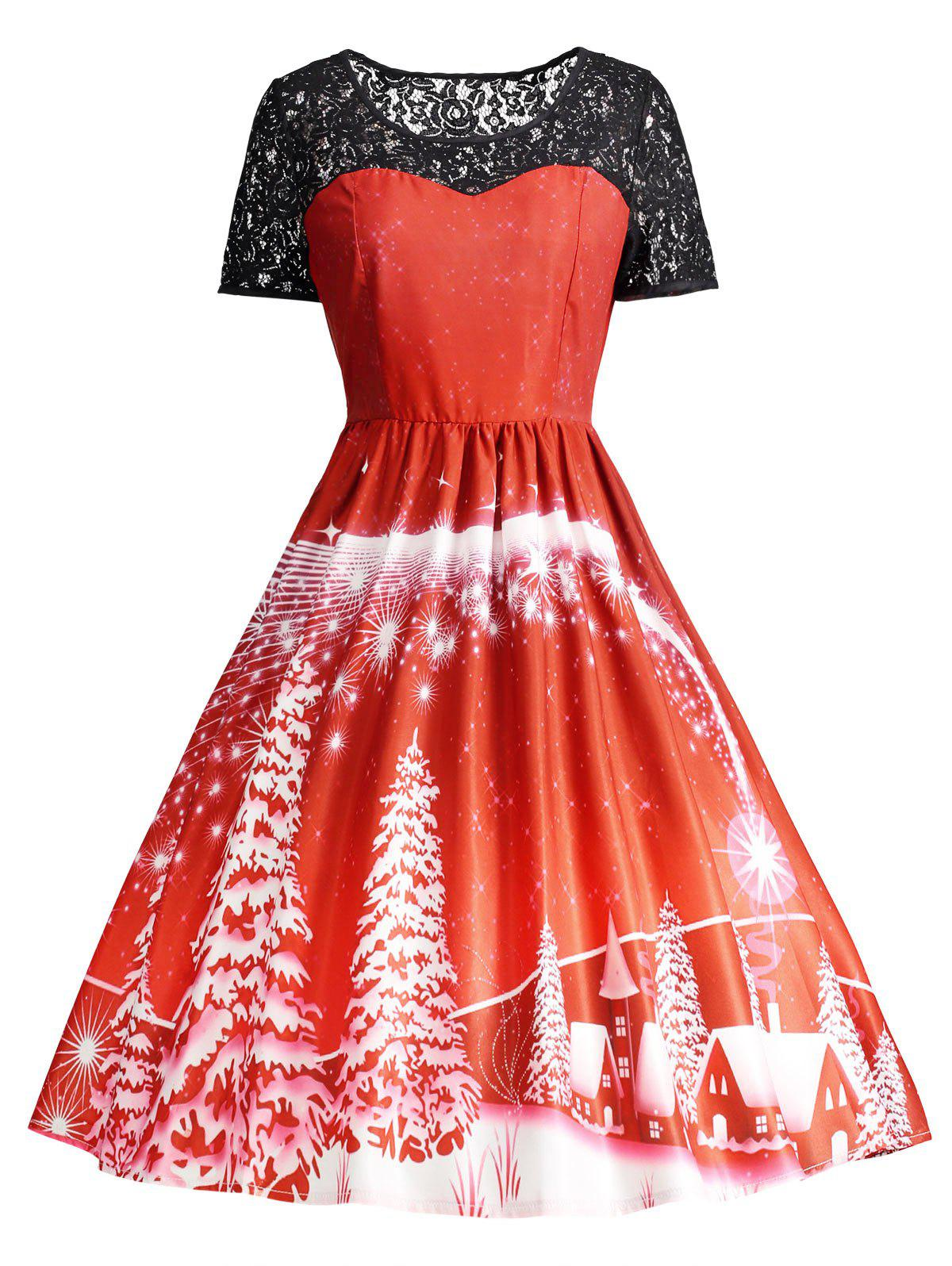 Cheap Print Lace Trim Vintage Party Dress