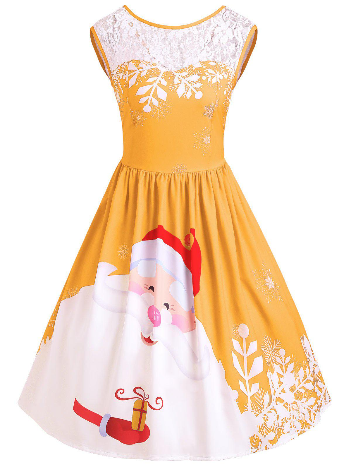 ffc11d317f62 51% OFF ] 2018 Christmas Santa Claus Print Lace Insert Party Dress ...