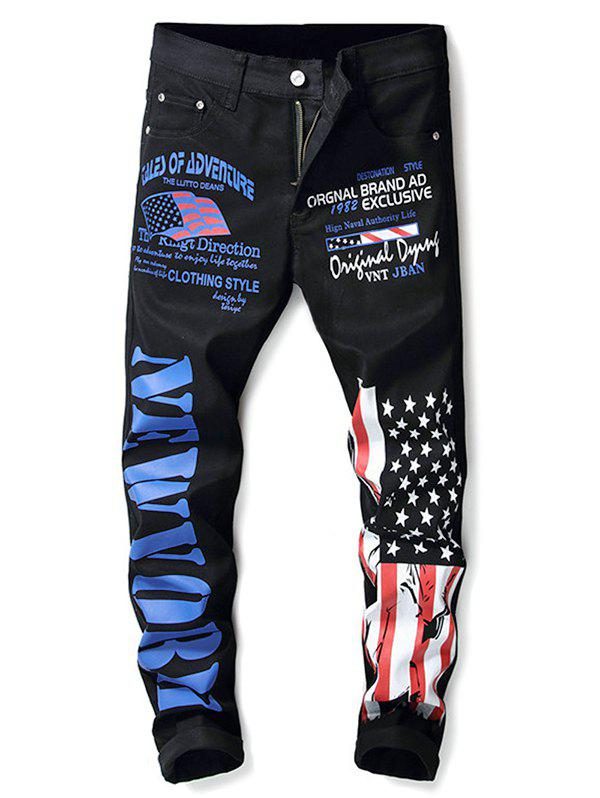Store Zip Fly American Flag and Letter Print Jeans