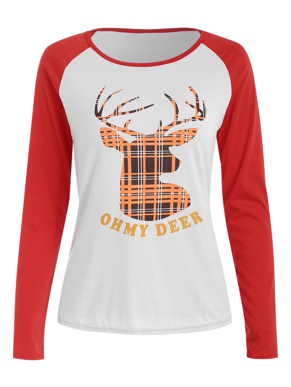 Outfits Christmas Slash Neck Long Sleeve Deer Pattern T-Shirt For Women