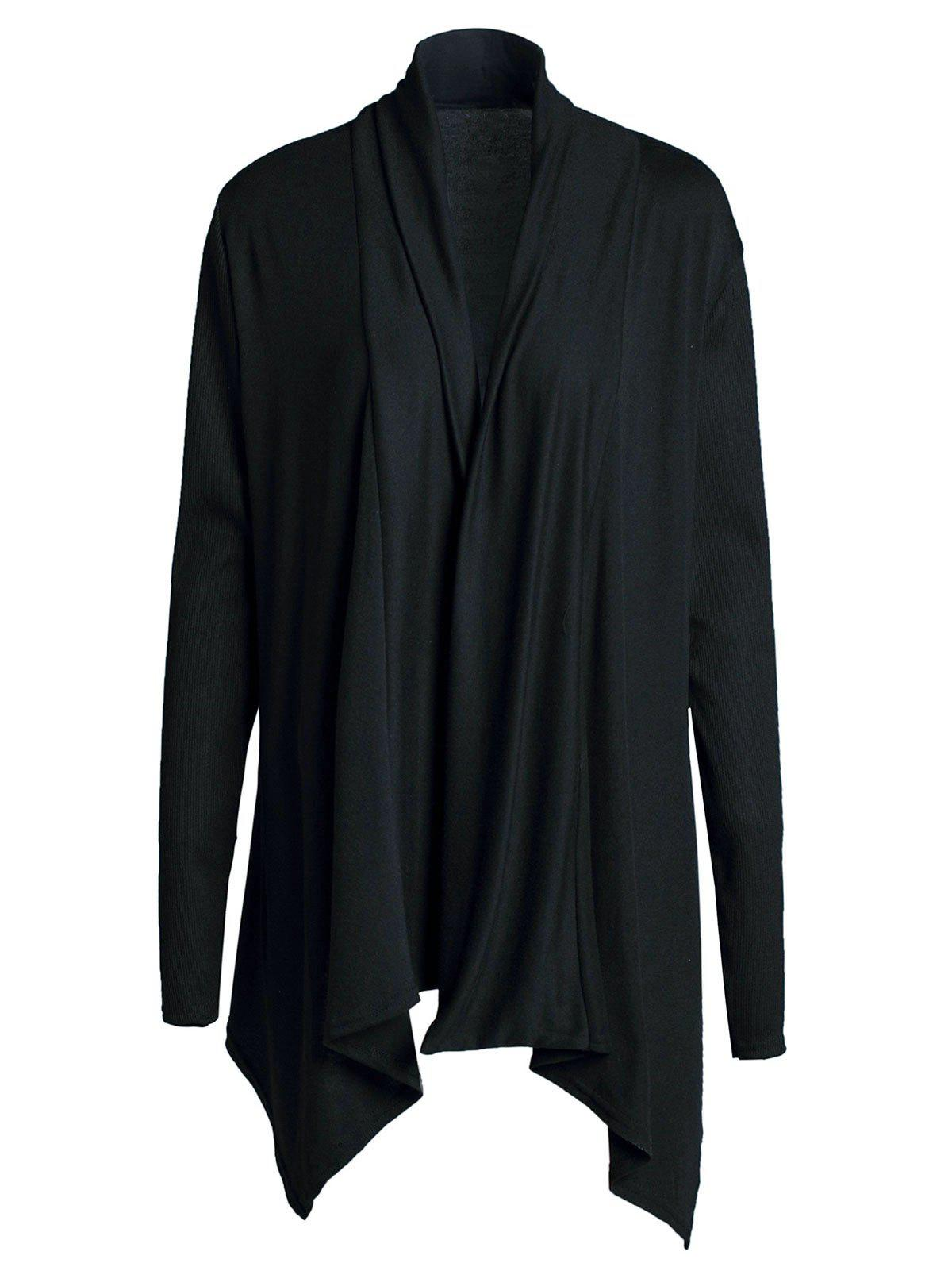 Shops Chic Turn-Down Neck Long Sleeve Pure Color Women's Cardigan