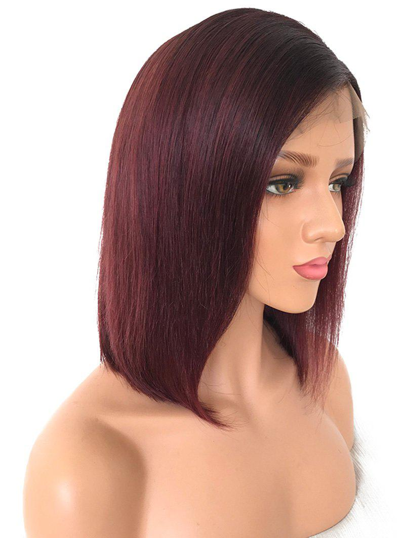 Trendy Short Side Parting Colormix Straight Bob Lace Front Human Hair Wig