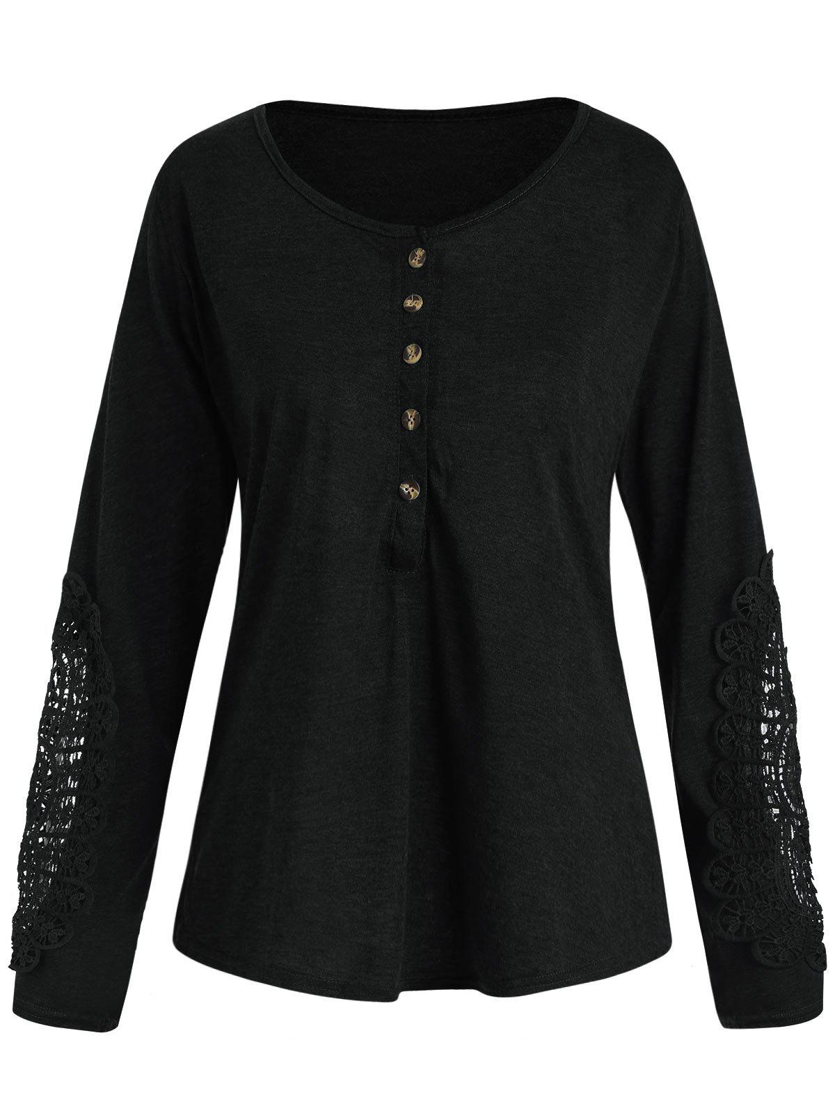 Online Casual Scoop Neck Lace Splicing Long Sleeve T-Shirt For Women