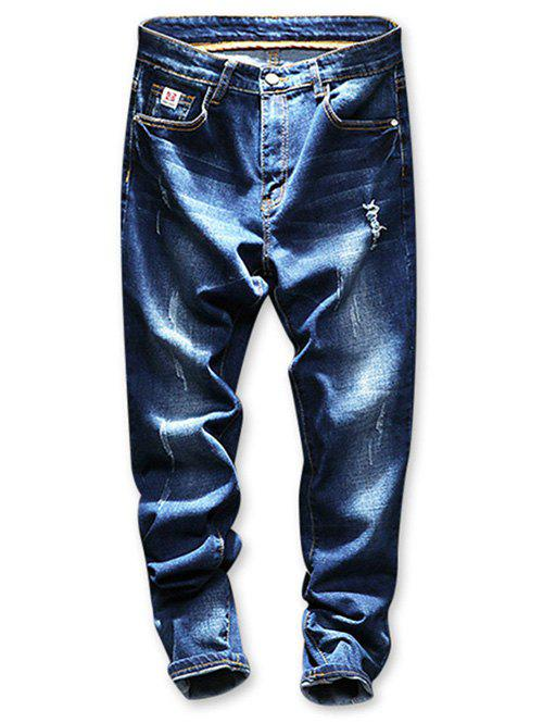 Fancy Faded Wash Distressed Tapered Jeans