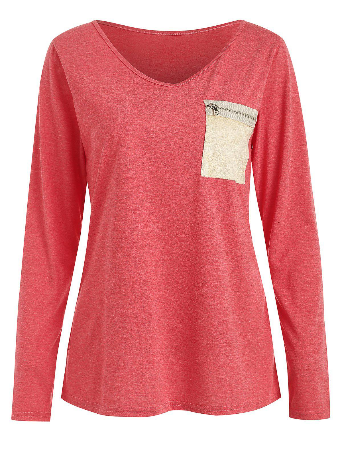 Outfits V Neck Zip Breast Pocket T-shirt