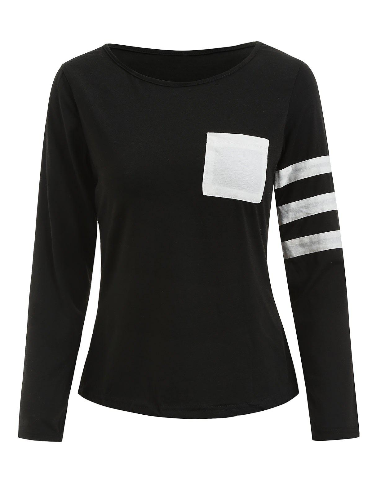 Sale Color Block Striped Sleeve Pocketed T-shirt