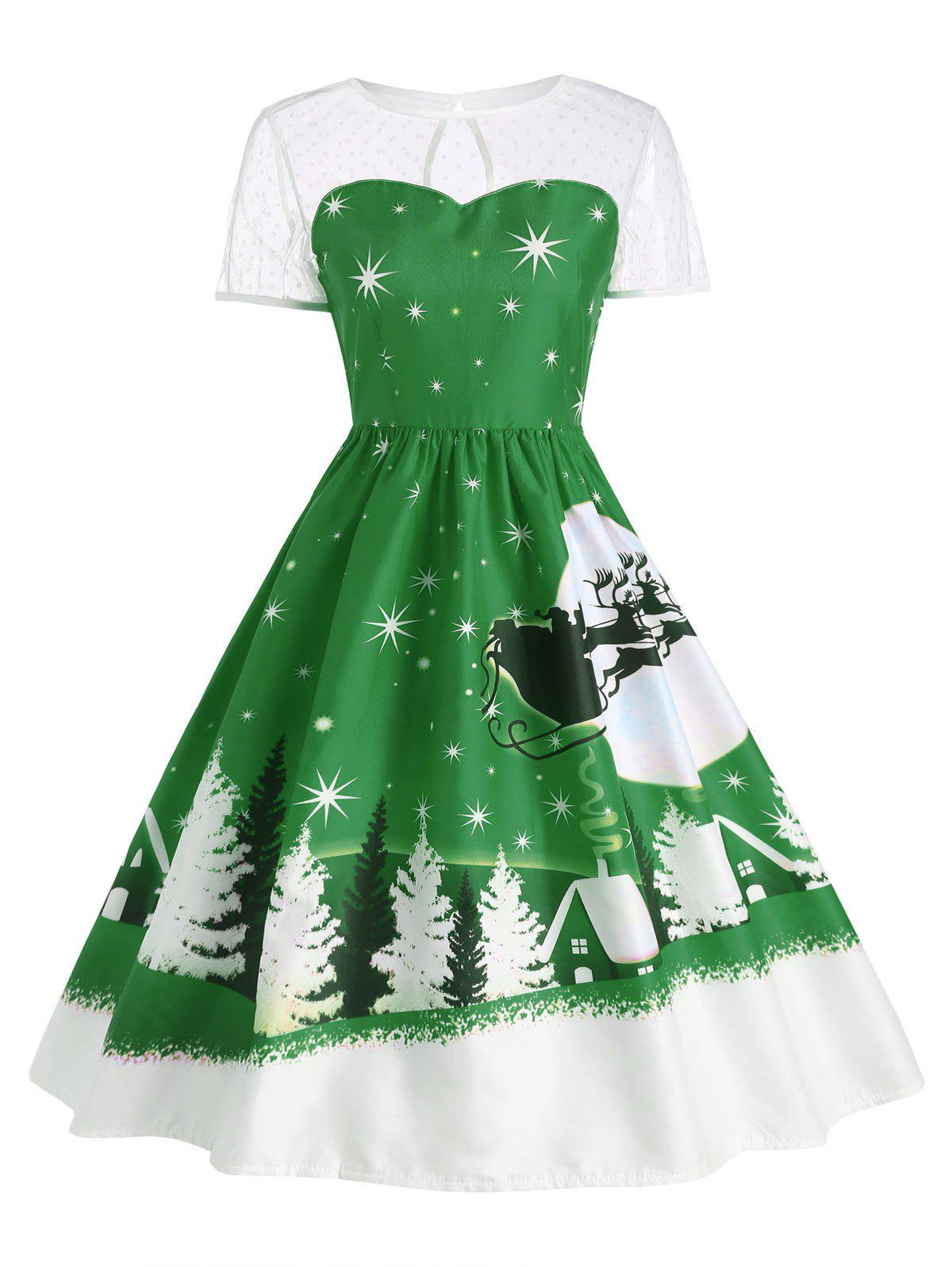 Affordable Santa Claus Deer Vintage Christmas Dress