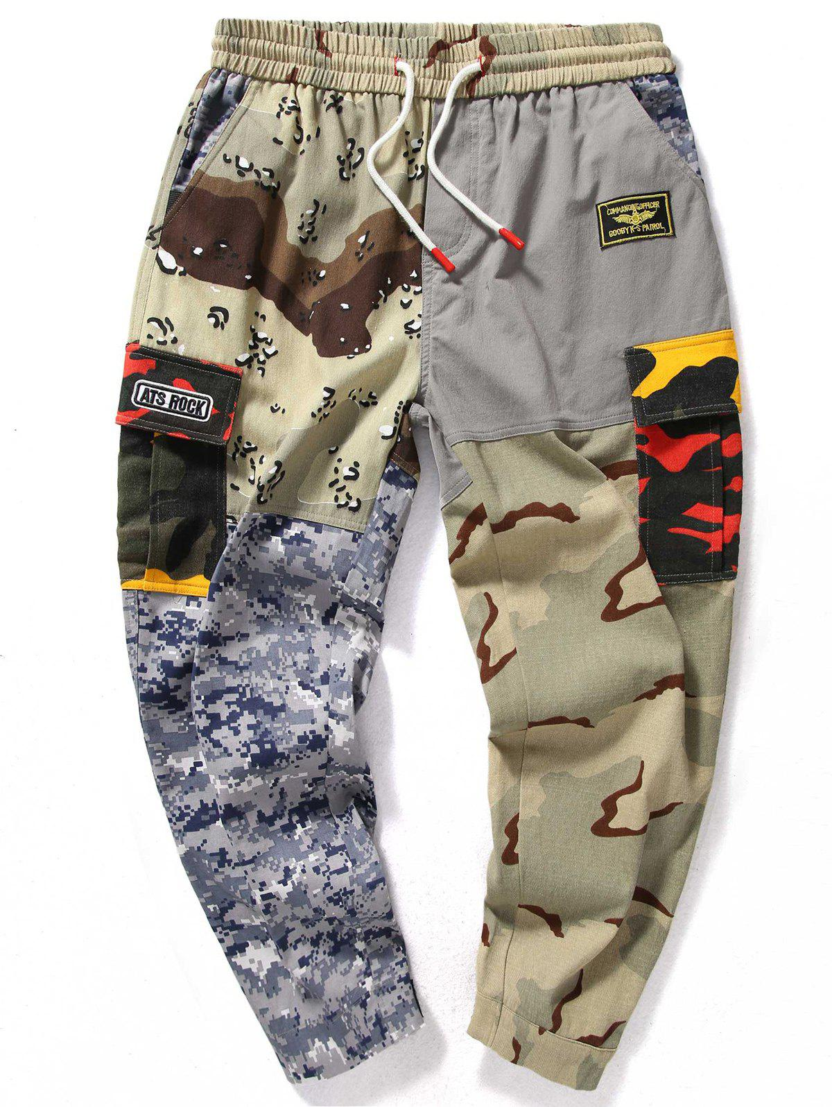 Fashion Camouflage Splicing Adjustable Bottom Jogger Pants
