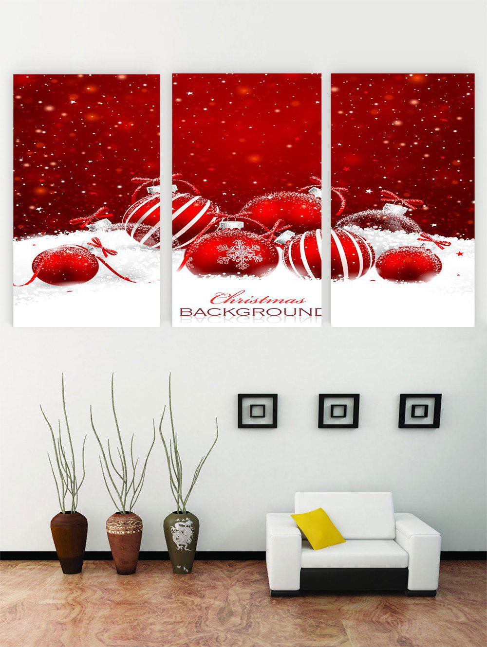 Discount Unframed Christmas Snowflake Ball Printed Canvas Paintings