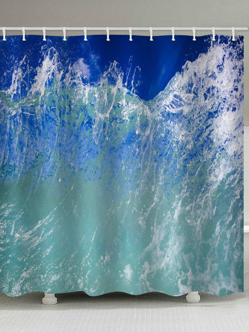 Outfits Sea Wave Printed Waterproof Bathroom Curtain