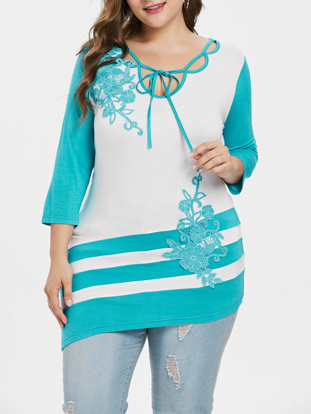 Trendy Plus Size Tie Neck Embroidery T-shirt